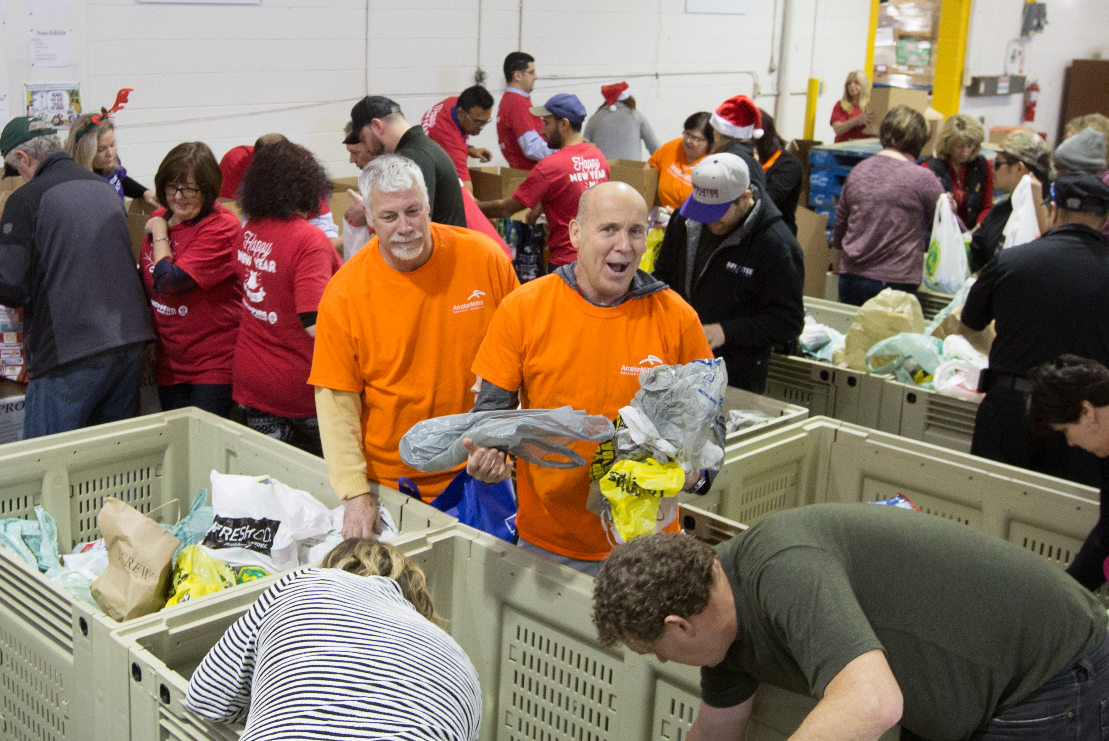 Volunteers sorting food at the annual sorting day